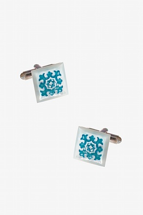 _Frosted Patterned Square Cufflinks_