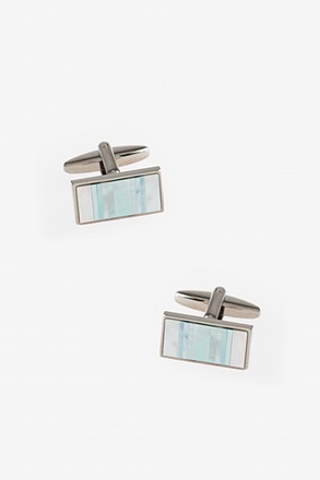 Pearly Striped Bar Teal Cufflinks