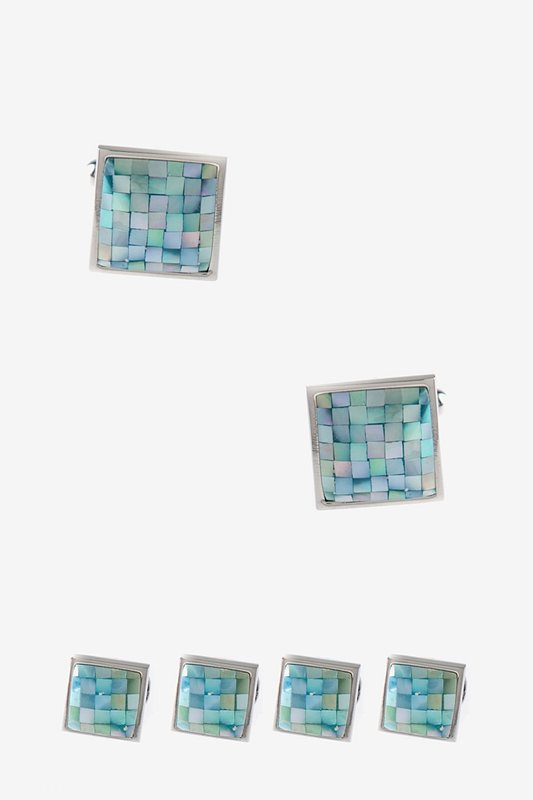 Square Pearly Tile Cufflink & Stud Set