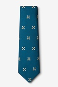 Crossed Keys Teal Extra Long Tie Photo (1)