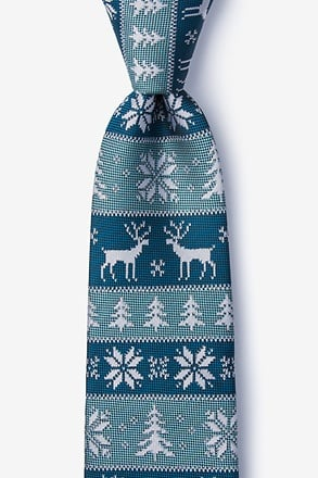 _Less Ugly Christmas Sweater Teal Extra Long Tie_