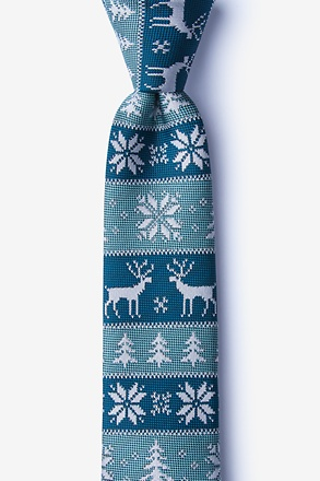 Less Ugly Christmas Sweater Teal Skinny Tie