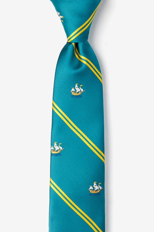 Ship Stripe Teal Skinny Tie Photo (0)