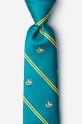 Teal Microfiber Ship Stripe Tie