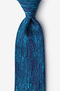 Teal Microfiber Wood Grain Tie