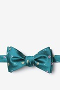 Teal Silk Awesome Blossoms Self-Tie Bow Tie