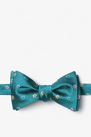 _Awesome Blossoms Teal Self-Tie Bow Tie_