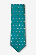 Blossoms Teal Extra Long Tie Photo (1)