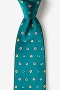 Teal Silk Blossoms Extra Long Tie