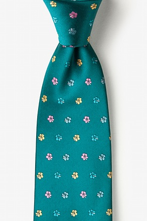 _Blossoms Teal Extra Long Tie_
