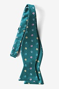 Blossoms Teal Self-Tie Bow Tie Photo (1)