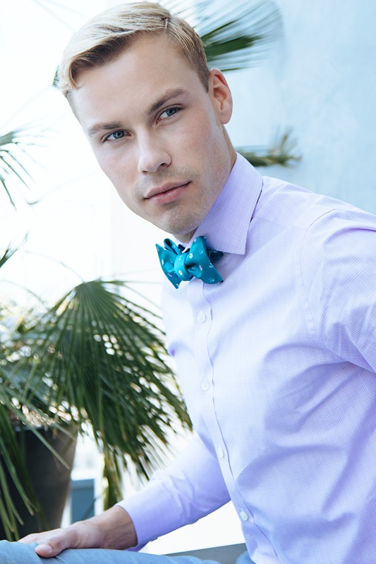 Blossoms Teal Self-Tie Bow Tie Photo (2)