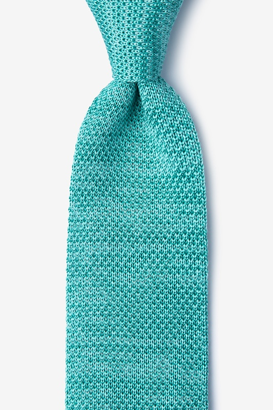 Classic Solid Teal Knit Tie Photo (0)