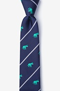 Teal Silk Extra Trunk Space Skinny Tie