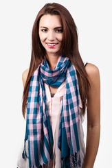Teal Viscose Picnic Check Scarf
