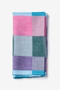 Turquoise Cotton Brynn Check Pocket Square