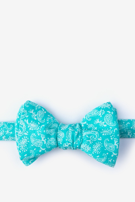 00d20bfb636e Turquoise Cotton Guryon Self-Tie Bow Tie | Ties.com