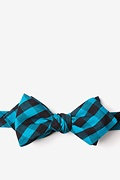 Turquoise Cotton Pasco Diamond Tip Bow Tie