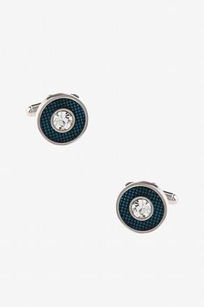 _Fancy Round Setting Turquoise Cufflinks_