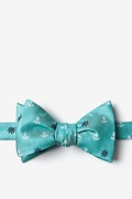 Turquoise Microfiber Anchors & Ships Wheels Self-Tie Bow Tie