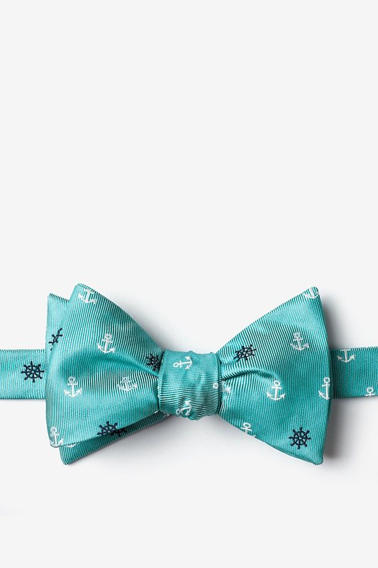 e2dae637a489 Turquoise Microfiber Anchors & Ships Wheels Self-Tie Bow Tie | Ties.com