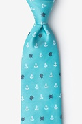 Turquoise Microfiber Anchors & Ships Wheels Extra Long Tie