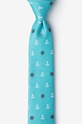 Turquoise Microfiber Anchors & Ships Wheels Skinny Tie