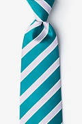 Turquoise Microfiber Jefferson Stripe Extra Long Tie