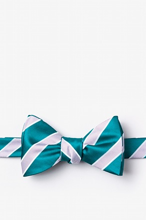 _Jefferson Stripe Turquoise Self-Tie Bow Tie_