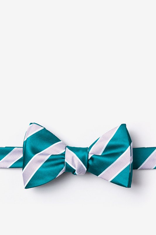 Jefferson Stripe Turquoise Self-Tie Bow Tie Photo (0)