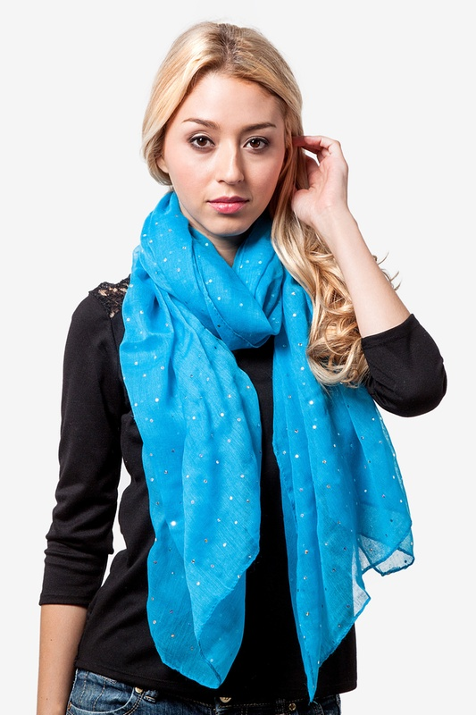Marilyn Sparkle Turquoise Scarf by Scarves.com
