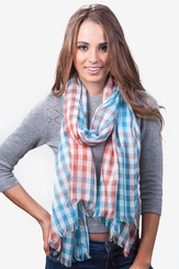 Turquoise Polyester Party Check Scarf