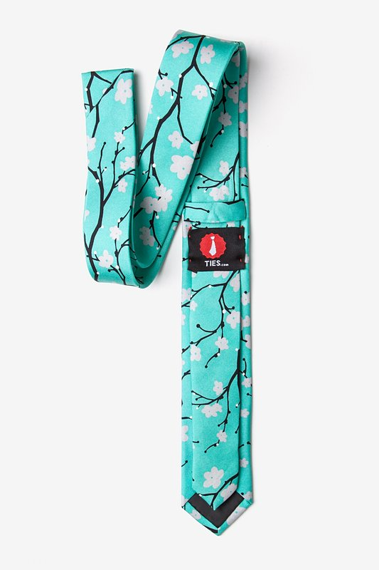 Cherry Blossoms Turquoise Skinny Tie Photo (1)