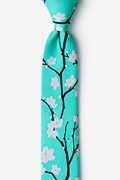 Turquoise Silk Cherry Blossoms Skinny Tie