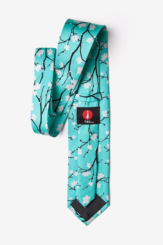 Cherry Blossoms Turquoise Tie Photo (1)
