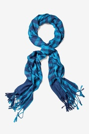 Turquoise Viscose Picnic Check Scarf