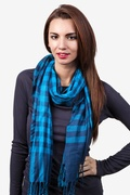 Picnic Check Turquoise Scarf by Scarves.com
