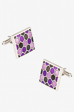_Honeycomb Square Violet Cufflinks_