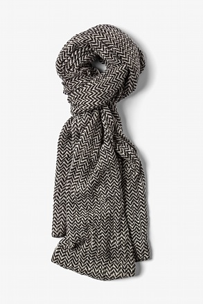 White Seattle Striped Knit Scarf