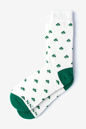 _My Lucky | Shamrock White Women's Sock_