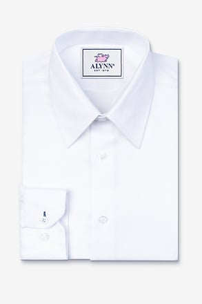 _Aiden Point Collar White Classic Fit Dress Shirt_