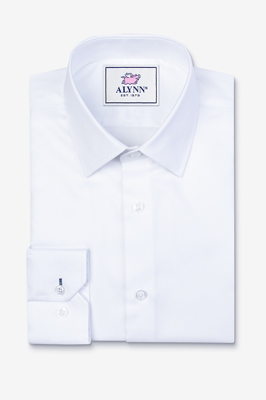 Aiden Spread Collar White Classic Fit Dress Shirt Photo (0)