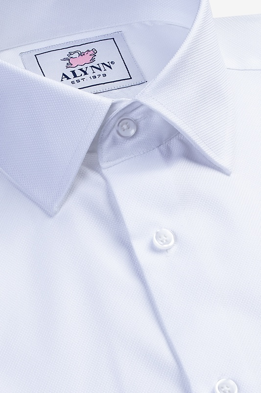 Aiden Spread Collar White Classic Fit Dress Shirt Photo (2)