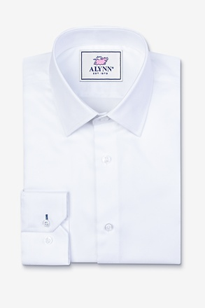_Aiden Spread Collar White Slim Fit Dress Shirt_