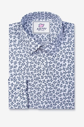 Brooks Floral White Slim Fit Untuckable Dress Shirt