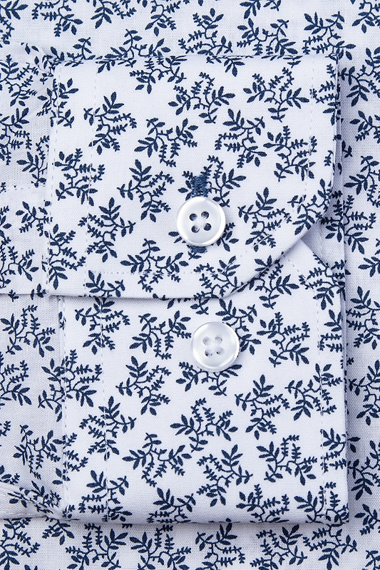 Brooks Floral White Slim Fit Untuckable Dress Shirt Photo (1)