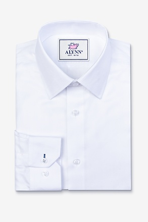 Oliver Herringbone White Classic Fit Dress Shirt