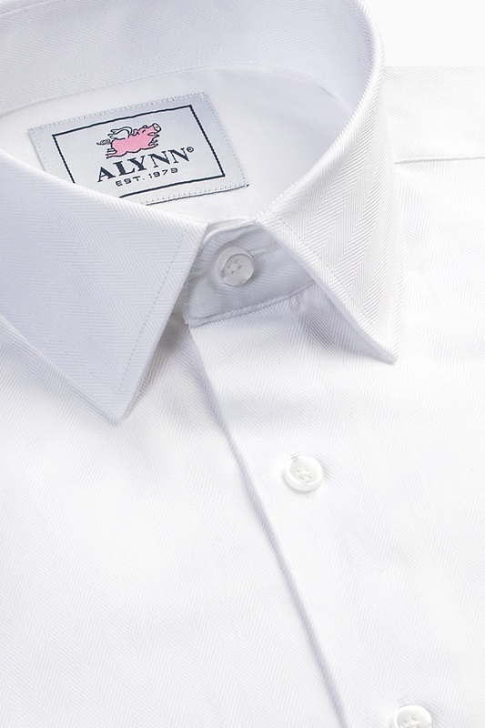 Oliver Herringbone White Classic Fit Dress Shirt Photo (2)