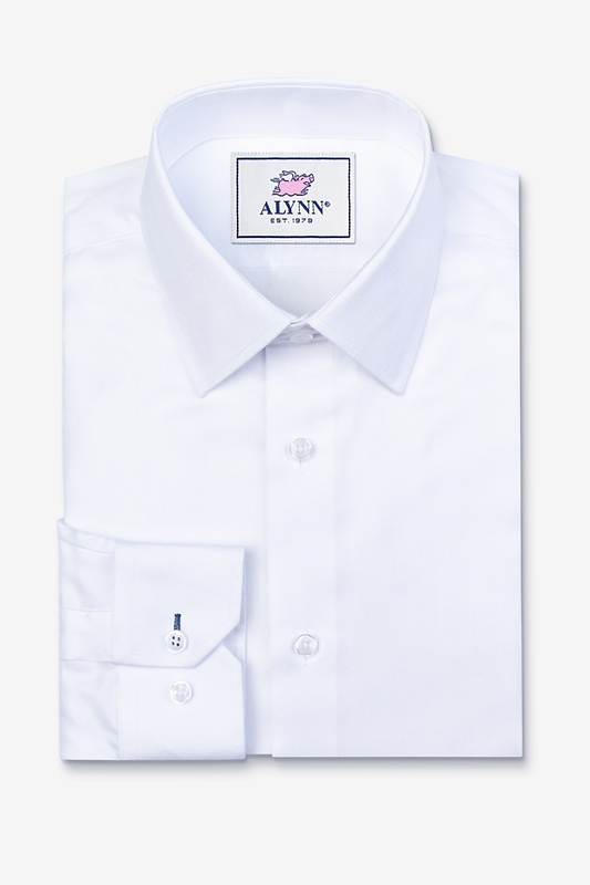 Oliver Herringbone White Slim Fit Dress Shirt Photo (0)