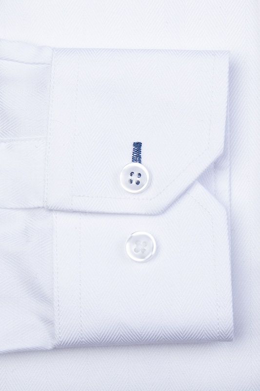 Oliver Herringbone White Slim Fit Dress Shirt Photo (1)